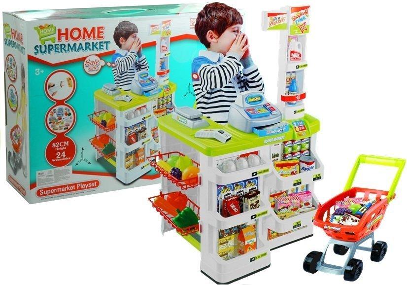 supermarkt kaufladen f r kinder kaufmannsladen mit einkaufswagen spielzeug k che. Black Bedroom Furniture Sets. Home Design Ideas