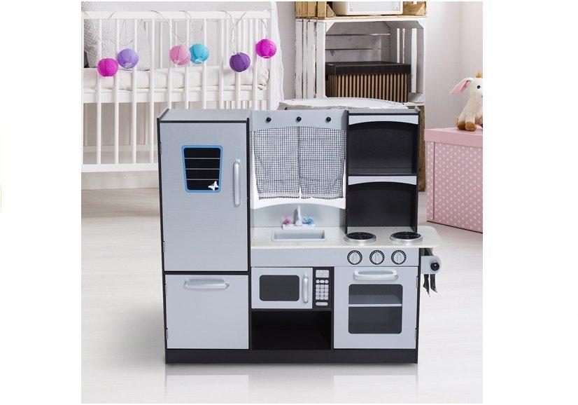 Holzküche Silbern mit Kühlschrank Backofen Mikrowelle Spülbecken ...