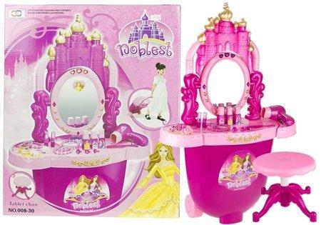 Beauty Table Princess Girl Set Lights Sounds Stool Realistic Hairdryer