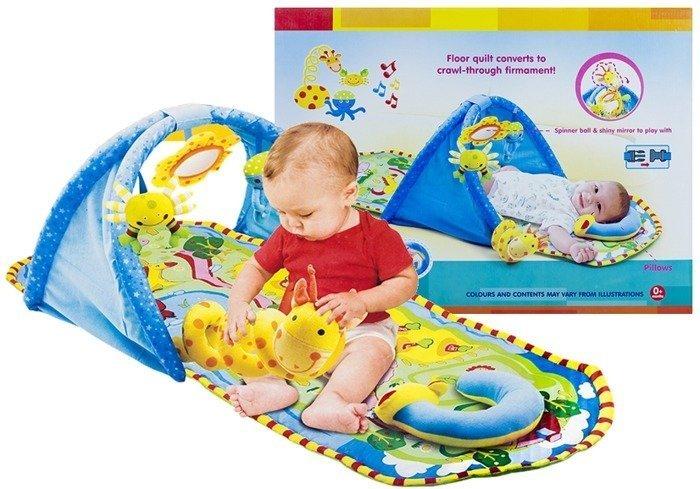 Baby Newborn Educational Rug Carpet Mirror Quilt Mat 124 cm Play Gym ...