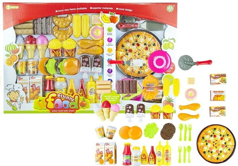 Grocery set 82 pcs artificial food roleplay pizza kids for Kitchen set 008 82