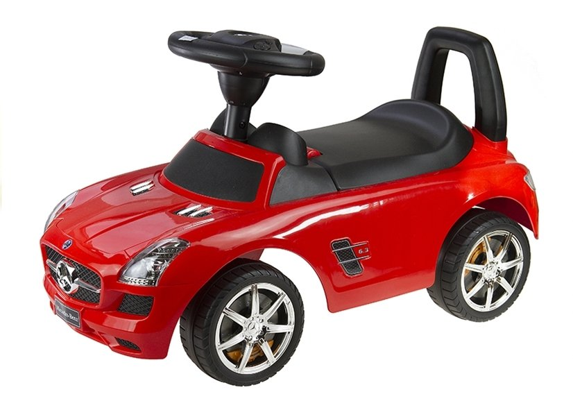 Mercedes benz red kids push along ride on car push for Ride on mercedes benz toy car