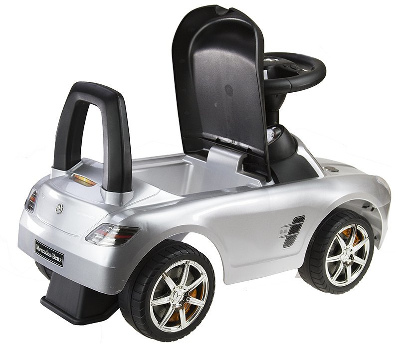 Mercedes benz silver kids push along ride on car push for Mercedes benz toddler car