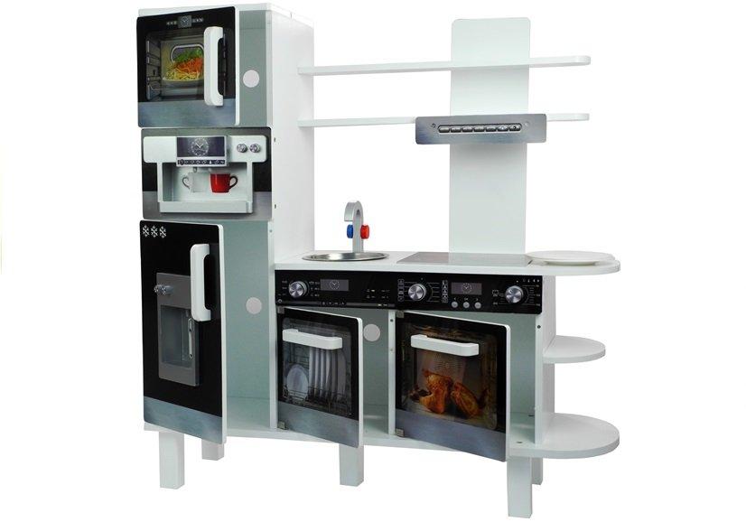 Holzküche mit Kaffeemaschine Kühlschrank Backofen Regal Mikrowelle ...