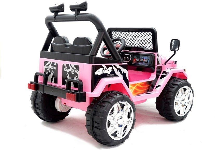 elektroauto f r kinder jeep raptor rosa auto 2x45w. Black Bedroom Furniture Sets. Home Design Ideas