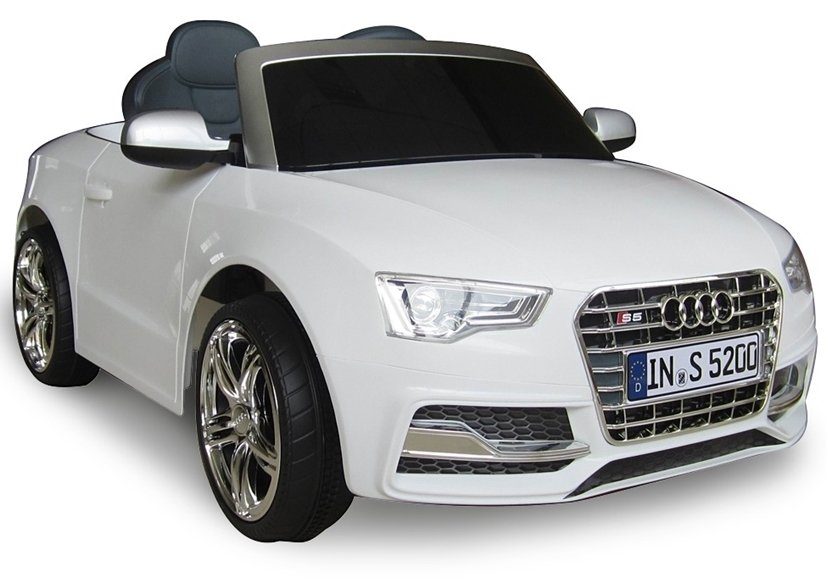 elektroauto f r kinder audi s5 wei eva reifen 2 4g fernbedienung elektrofahrzeuge autos. Black Bedroom Furniture Sets. Home Design Ideas