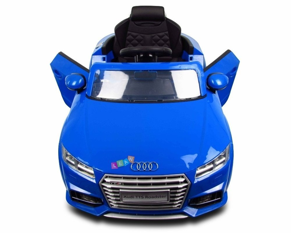 elektroauto f r kinder audi tt rs blau eva reifen ledersitz radio fm usb elektrofahrzeuge. Black Bedroom Furniture Sets. Home Design Ideas