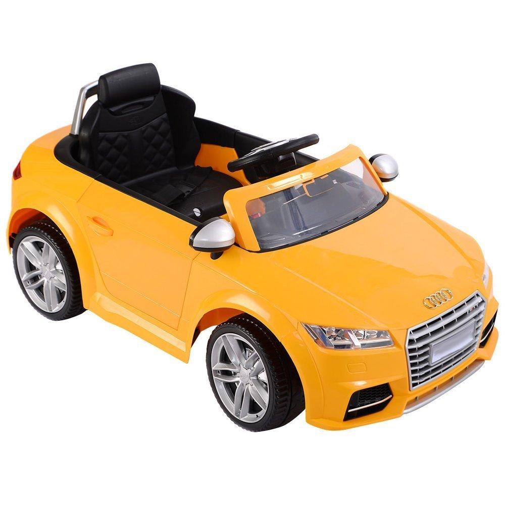 elektroauto f r kinder audi tt rs gelb eva reifen ledersitz radio elektrofahrzeuge autos. Black Bedroom Furniture Sets. Home Design Ideas
