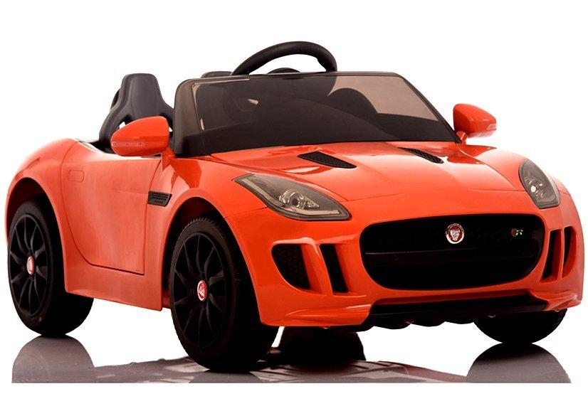 elektroauto f r kinder jaguar f type orange ledersitz radio led lichter felgen. Black Bedroom Furniture Sets. Home Design Ideas