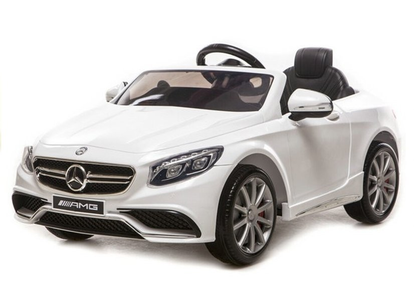 elektroauto f r kinder mercedes s63 amg wei ledersitz. Black Bedroom Furniture Sets. Home Design Ideas