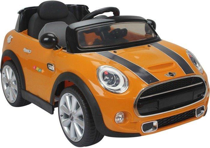 elektroauto f r kinder mini cooper s orange ledersitz. Black Bedroom Furniture Sets. Home Design Ideas