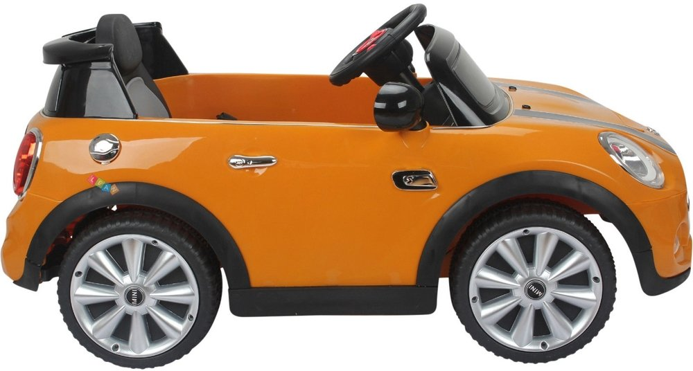 elektroauto f r kinder mini cooper s orange ledersitz elektrofahrzeuge autos. Black Bedroom Furniture Sets. Home Design Ideas