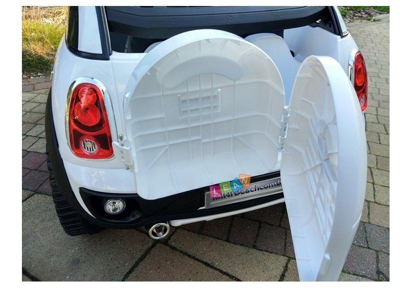Elektroauto für kinder mini cooper weiß groß ledersitz led
