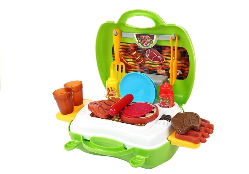 grill set im koffer 23 teile vielf ltiges zubeh r spielk che spielzeug k che haushaltwaren. Black Bedroom Furniture Sets. Home Design Ideas