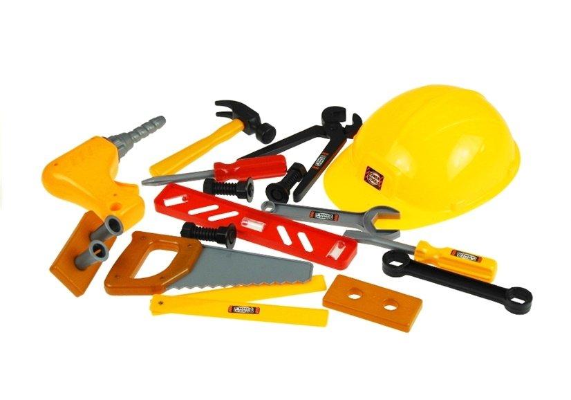 handwerker set f r kinder im kasten mechanikerset werkzeug spielzeug helm bohrer spielzeug. Black Bedroom Furniture Sets. Home Design Ideas