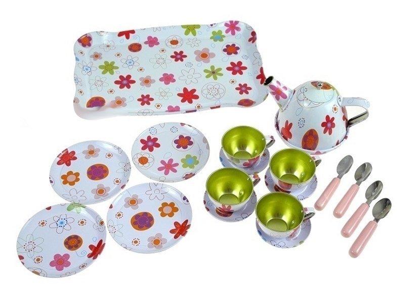 kinder metall mini tee set f r kinder 4 tassen teller set spielzeug k che haushaltwaren. Black Bedroom Furniture Sets. Home Design Ideas