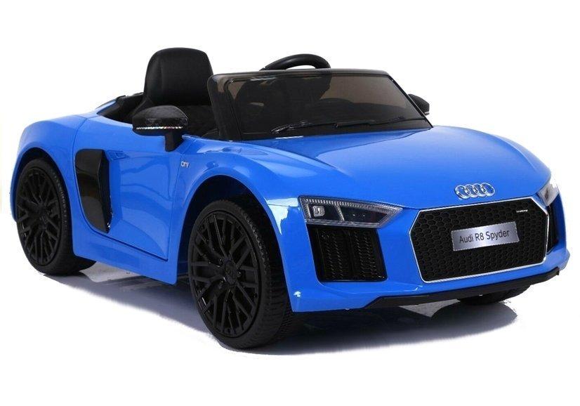 kinderauto akku audi r8 blau lackiert ledersitz radio fm. Black Bedroom Furniture Sets. Home Design Ideas