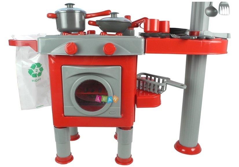 ... Kinderküche Mit Zubehör Geschirrspüler Backofen Töpfe Besteck  Spülmaschine ROT ...