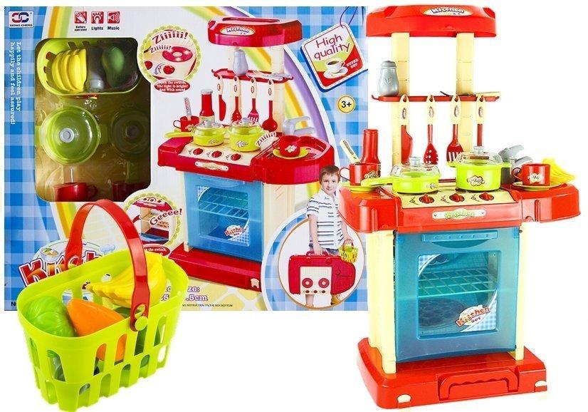 Küche Spielküche Kinderküche mir Zubehör Korb ROT | Spielzeug ...