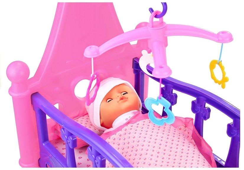 puppenbett wiege mit bettzeug bettw sche puppe decke kissen bett spielzeug spielzeug puppen. Black Bedroom Furniture Sets. Home Design Ideas
