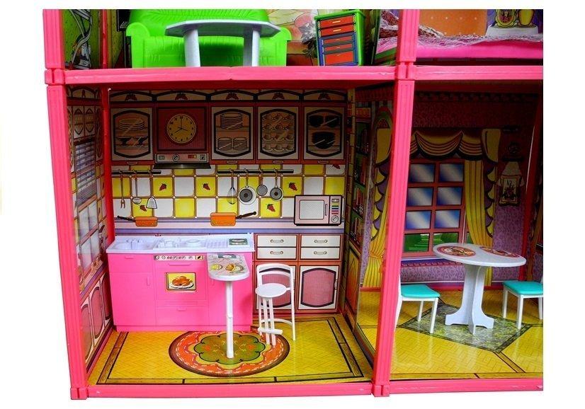 puppenhaus gro e villa mit m beln spielzeug f r m dchen set 128 elemente haus spielzeug. Black Bedroom Furniture Sets. Home Design Ideas