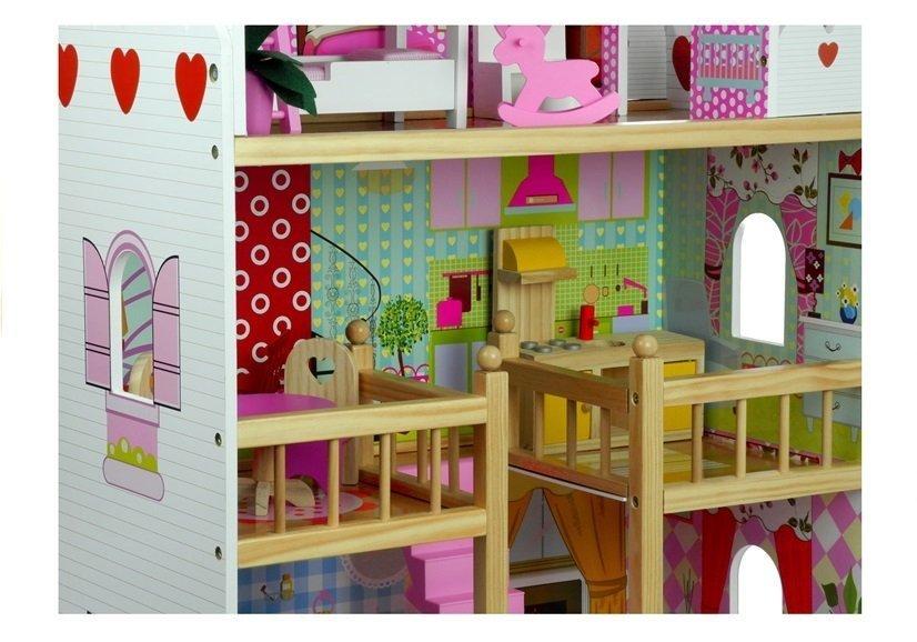puppenhaus holz melisa rosa 5 offene r ume puppenhaus f r m dchen spielzeug holzspielzeug. Black Bedroom Furniture Sets. Home Design Ideas