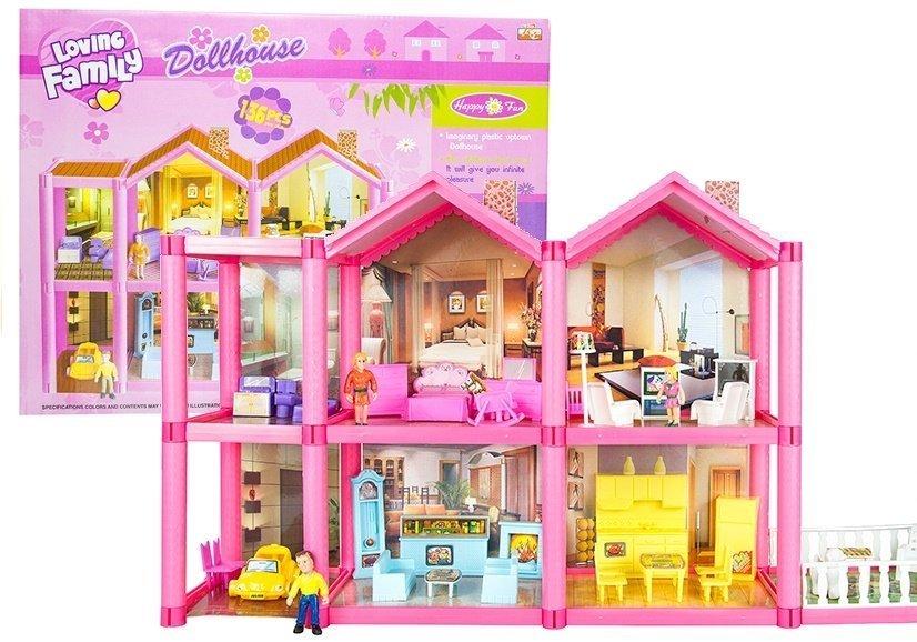 puppenhaus mit zubeh r 136 teilig m bel puppen terrase spielzeug spielzeug puppen. Black Bedroom Furniture Sets. Home Design Ideas
