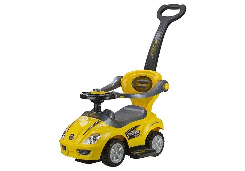 rutschauto f r babys rutscher gelb mit schiebestange