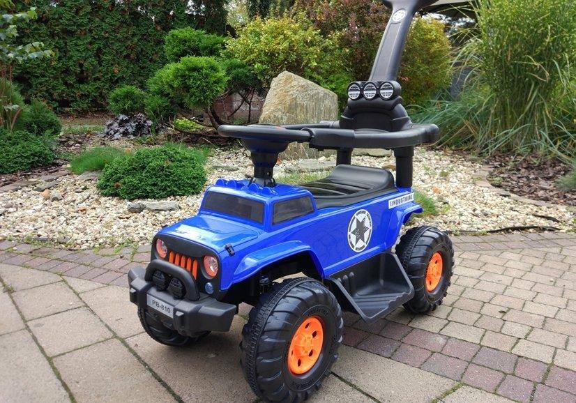 rutschauto mit schiebegriff pb810 akku blau auto f r. Black Bedroom Furniture Sets. Home Design Ideas