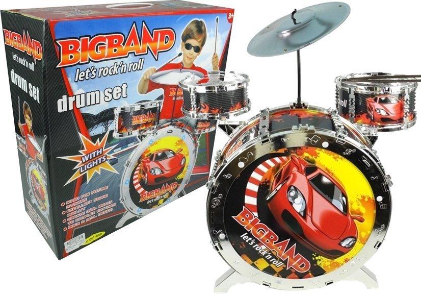 Schlagzeug mit Lichteffekten für Kinder 3 Trommel Becken Drumsticks ...