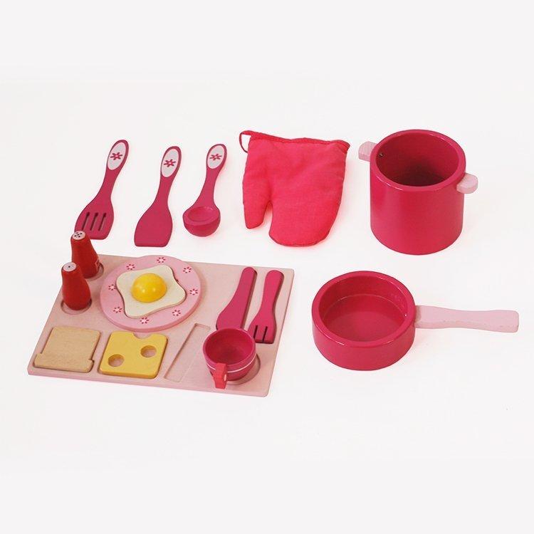 Spielküche Holz Zubehör Pfanne Gabel Messer Tasse Küchenzubehör Regal