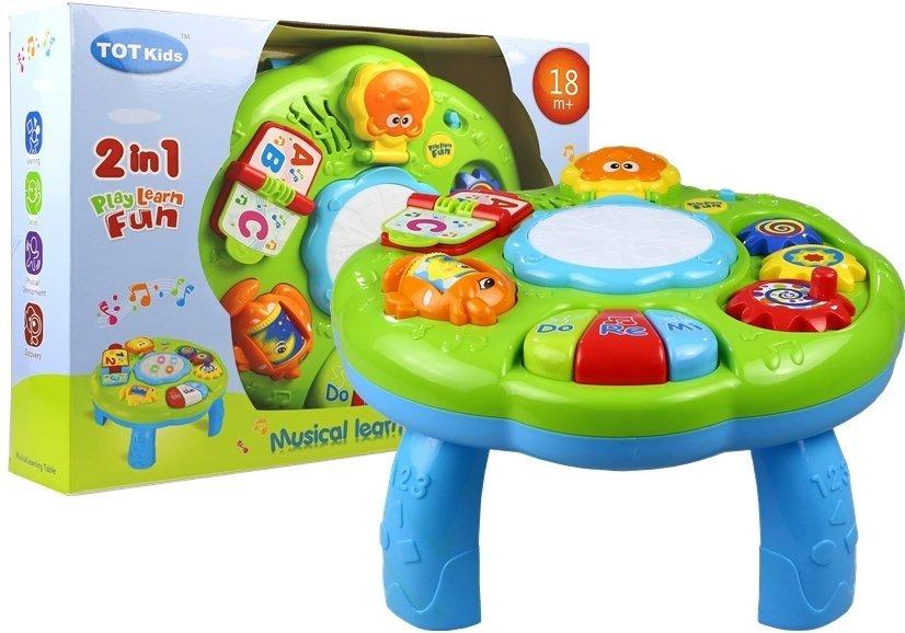 spieltisch lerntisch f r kinder piano buch trommel spiegel fischchen spielzeug f r babys. Black Bedroom Furniture Sets. Home Design Ideas