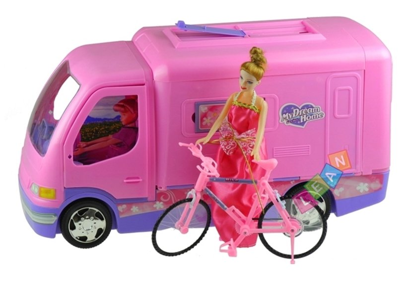 wohnmobil mit fahrrad puppe spielzeug f r m dchen puppenhaus spielzeug puppen puppenwagen. Black Bedroom Furniture Sets. Home Design Ideas