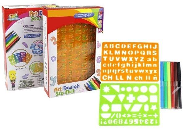 schablonen set alphabet ziffern formen 6 filzstifte set f r kinder spielzeug lernspielzeug. Black Bedroom Furniture Sets. Home Design Ideas