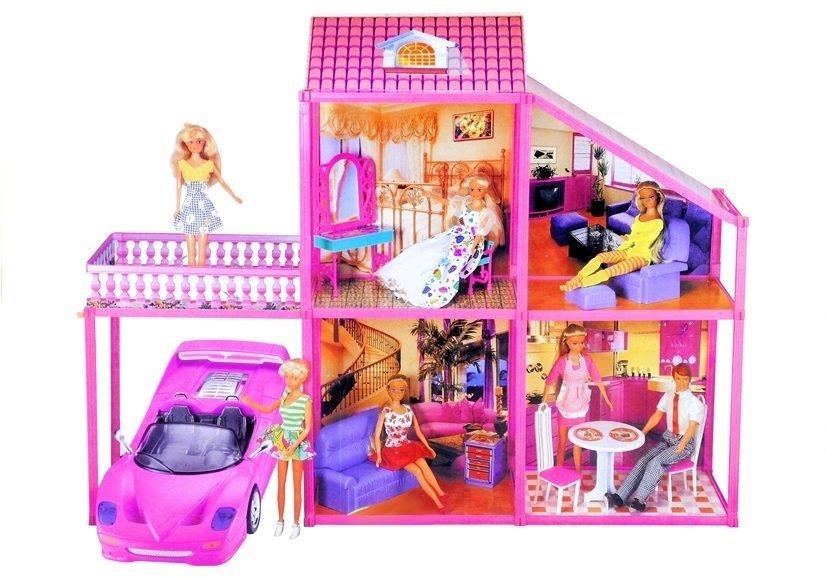 puppenhaus 76cm auto zubeh r set m bel haus spielzeug f r m dchen 3 spielzeug puppen. Black Bedroom Furniture Sets. Home Design Ideas