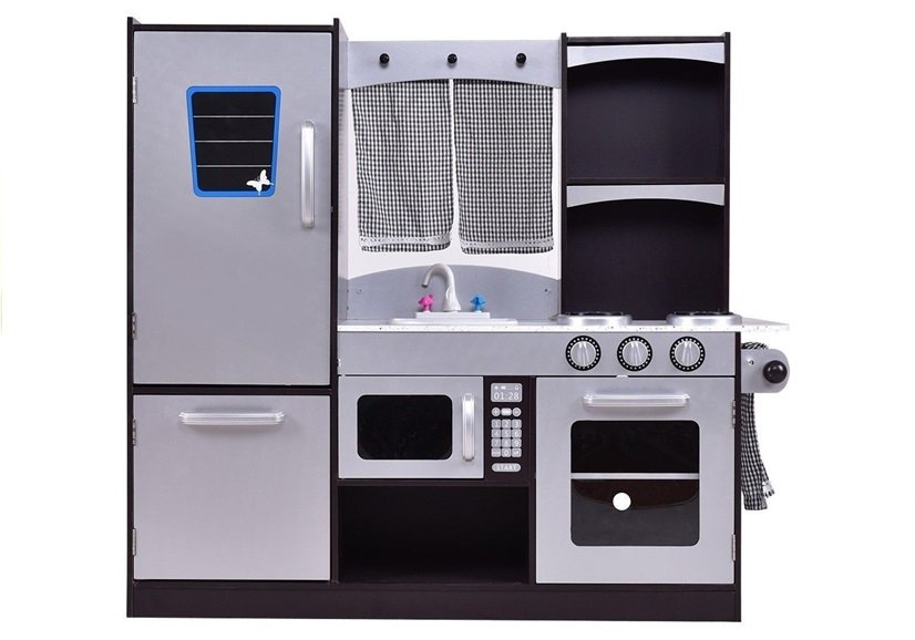 holzk che silbern mit k hlschrank backofen mikrowelle. Black Bedroom Furniture Sets. Home Design Ideas