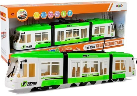 Excursion Tram on batteries 46 cm Sounds and Lights 1:16 Green