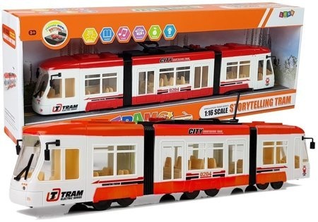 Excursion Tram on batteries 46 cm Sounds and Lights 1:16 Red