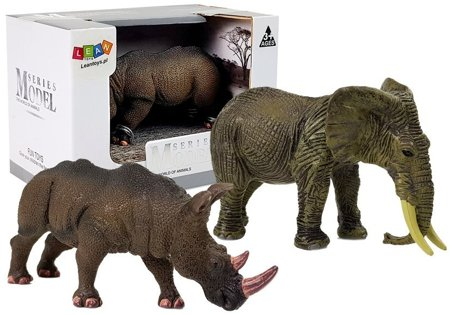 Figurine African Animals Rhinoceros Elephant