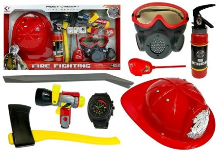 Firefighter Kit Helmet Fire Extinguisher Hatchet Mask Crowbar
