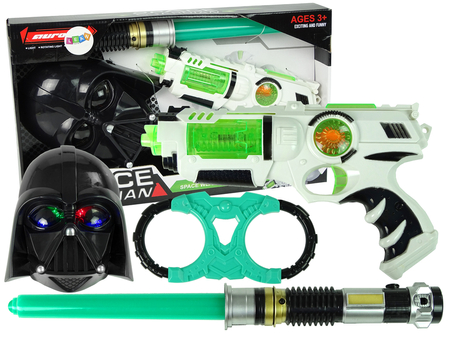 Laser Gun Lightsaber Mask Handcuffs Set with accessories