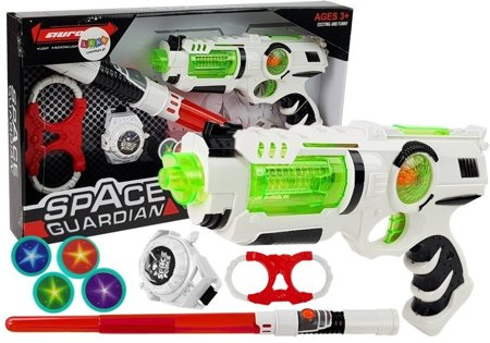 Space Warrior Set Laser Gun Lightsaber Handcuffs Disc Thrower