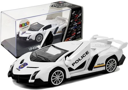 Sports Car with Tension and Sound Police White