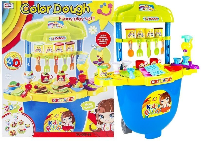 Big Kitchen Set With Dough Accessories 5 Colours Toys Household
