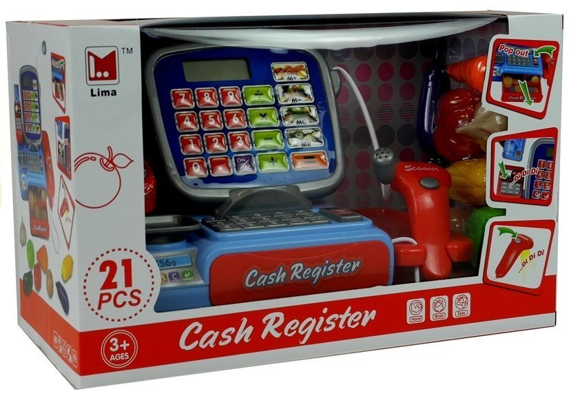 Cash Register With Barcode Scanner 21 Pieces | Toys