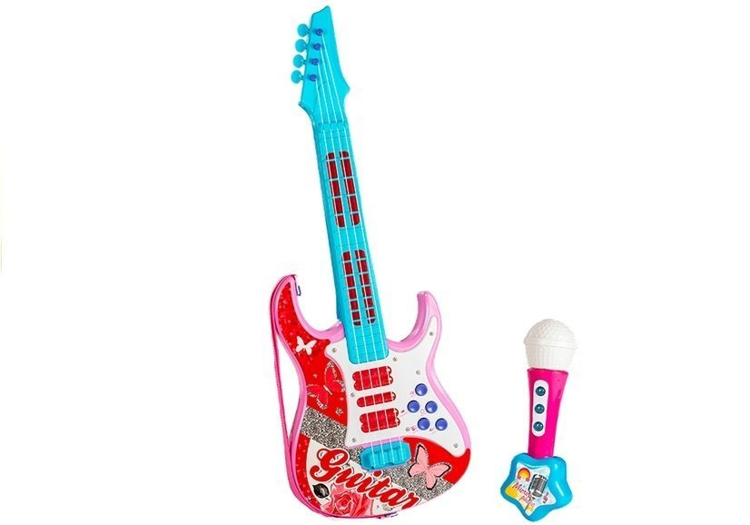 electric guitar with microphone strings toy pink toys music and instruments. Black Bedroom Furniture Sets. Home Design Ideas