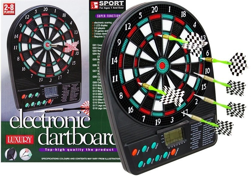 Electronic Dartboard Led Score Display Dart Board 18 Games 3 Darts 12 Spare Tips  Toys  Games