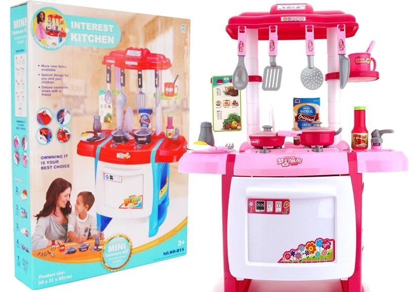Kids Roleplay Kitchen Set With Accessories Grocery Knitlery Lights
