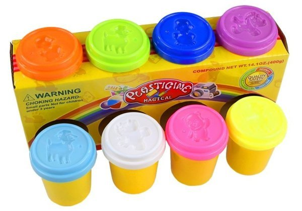 8 Containers With Dough Colorful Animal Patterns
