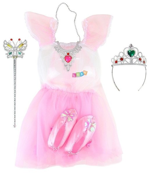 A princess costume with accessories shoes dress crown wand